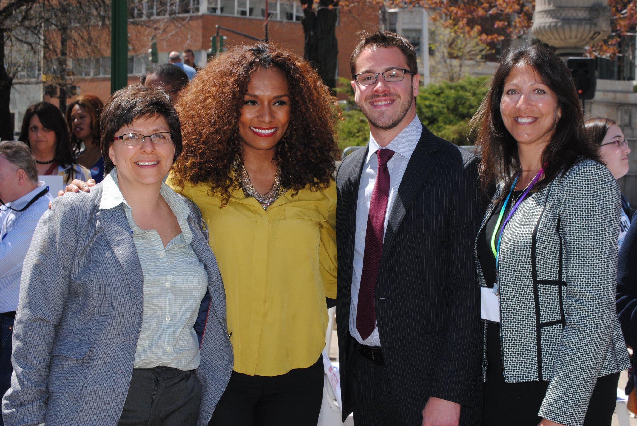 Sheilah Sable, Janet Mock,  Nathan Schaefer, and Terri Cook at E&J Day 2013